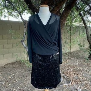DKNYC Black Cocktail Dress Chiffon Sequin Size 1X